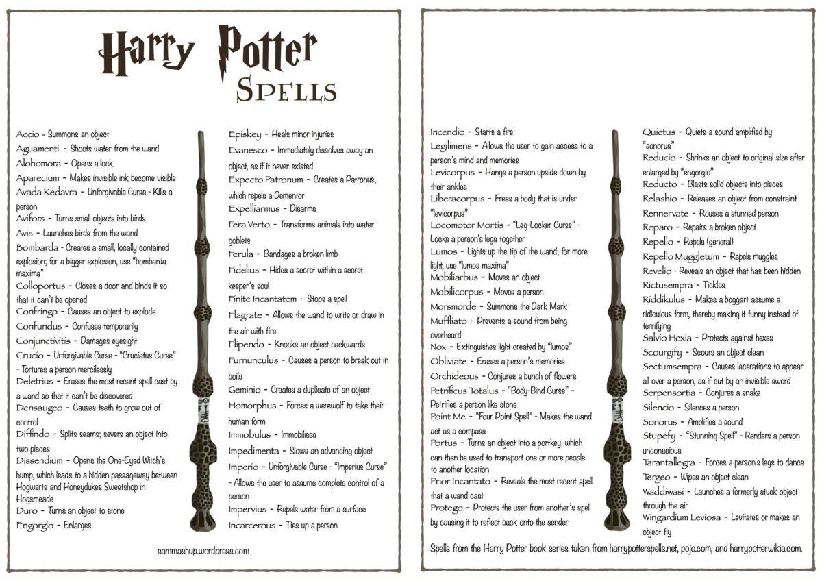 all harry potter spells